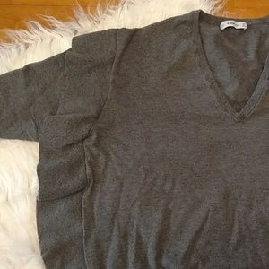 Zara Knit Side Ruffle V-Neck Sweater